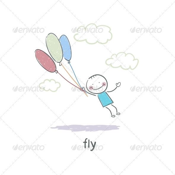 A Man Holding on to the Balloons and Flying - People Characters