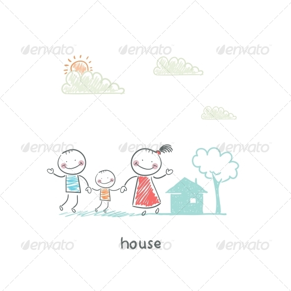 Family and Home. Illustration. - People Characters