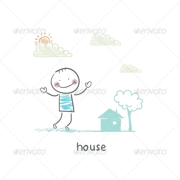 A Man and a House. Illustration. - People Characters