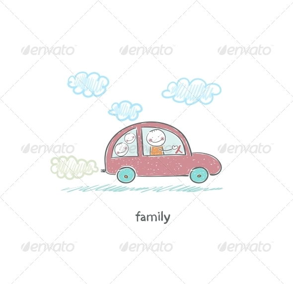 Family Car. Illustration. - People Characters