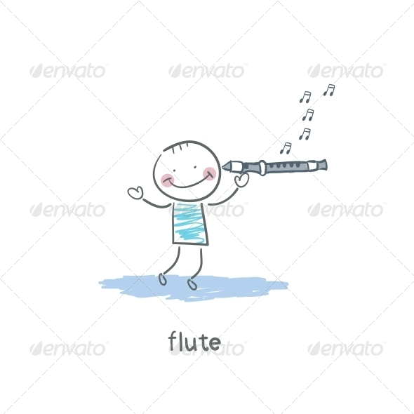 Man Plays the Flute - People Characters
