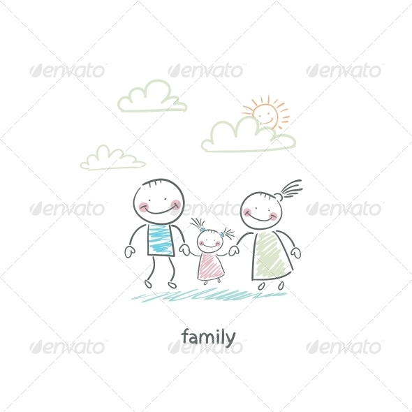 Happy Family. Illustration. - People Characters