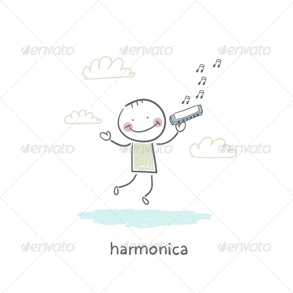 Man Plays the Harmonica - People Characters