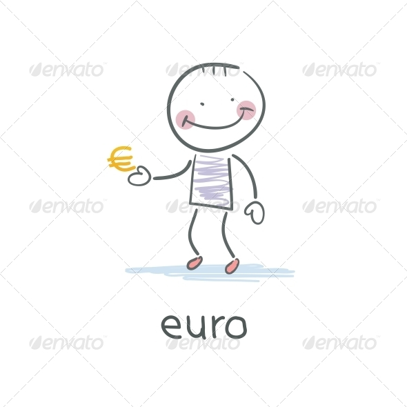 Man Holding Euro Sign. Illustration - People Characters