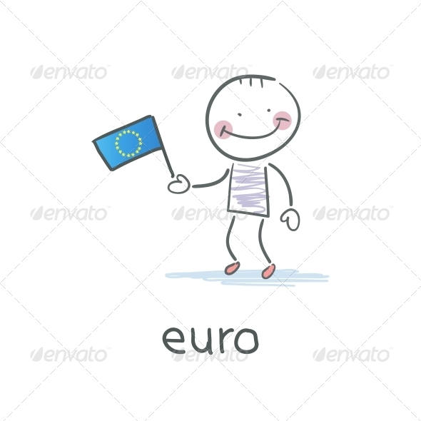 Man Holding Euro Flag. Illustration - People Characters
