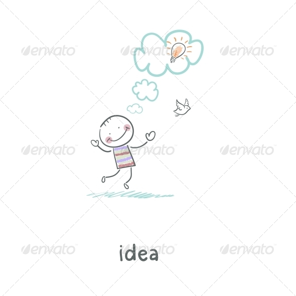 The Birth of an Idea. Illustration. - People Characters