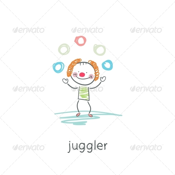 Clown Juggler. Illustration. - People Characters