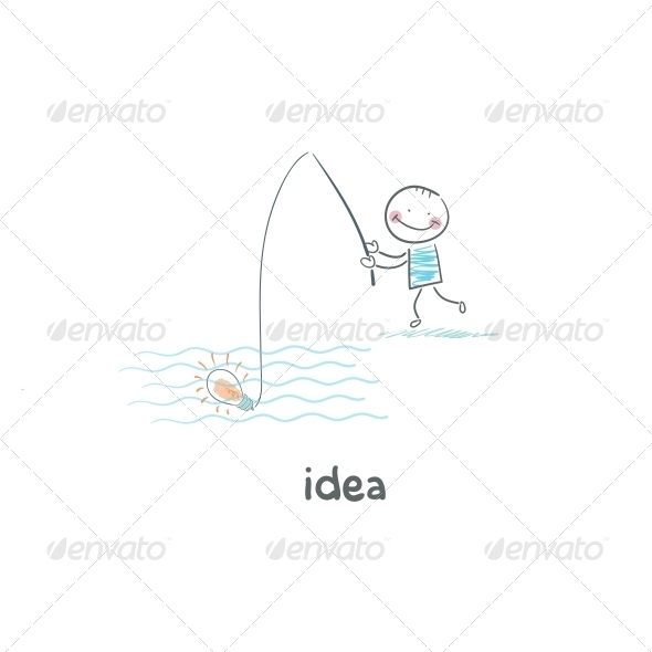 A Man Catches his Idea. - People Characters