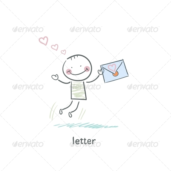 A Man and a Letter. Illustration. - People Characters