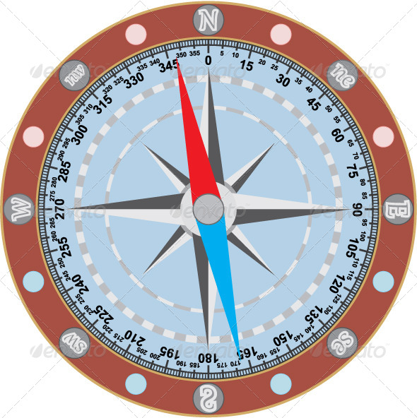 Image of Compass on a White Background - Technology Conceptual