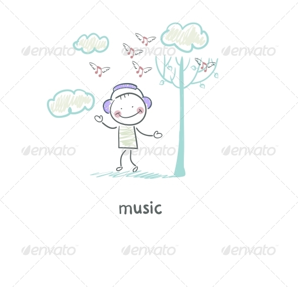A Man Listens to Music. Illustration. - People Characters