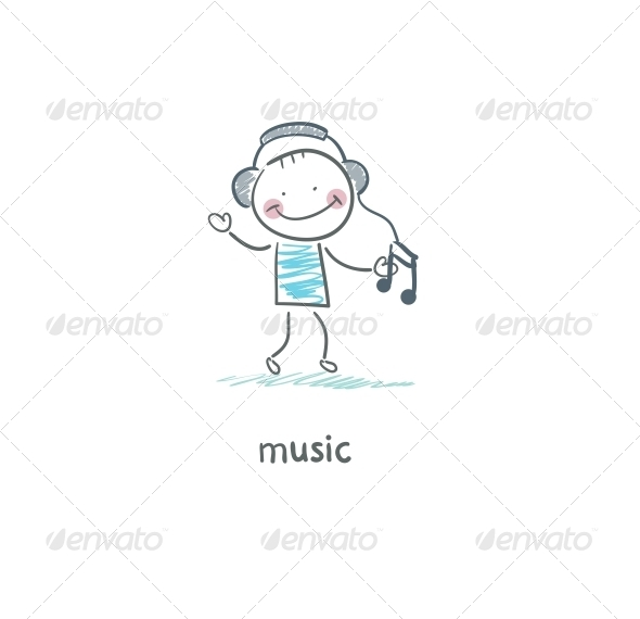 A Man Listens to Music.  - People Characters