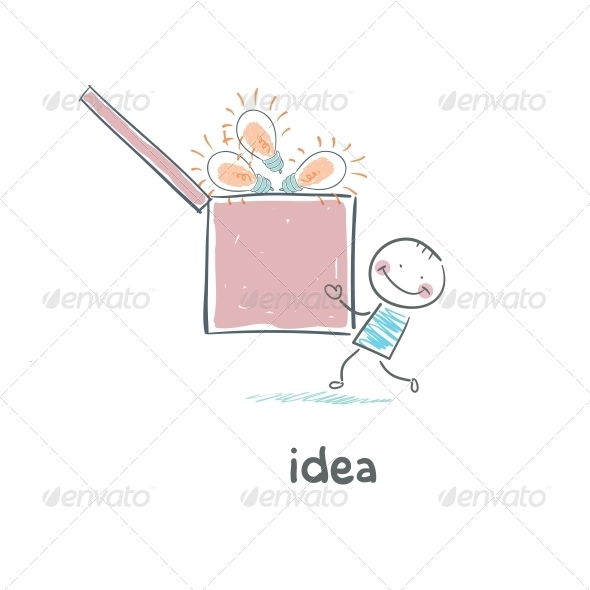 A Man Carries a Box of Ideas. Concept Ideas. - People Characters