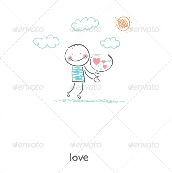 Man Holding Tank with Hearts. Illustration. - People Characters