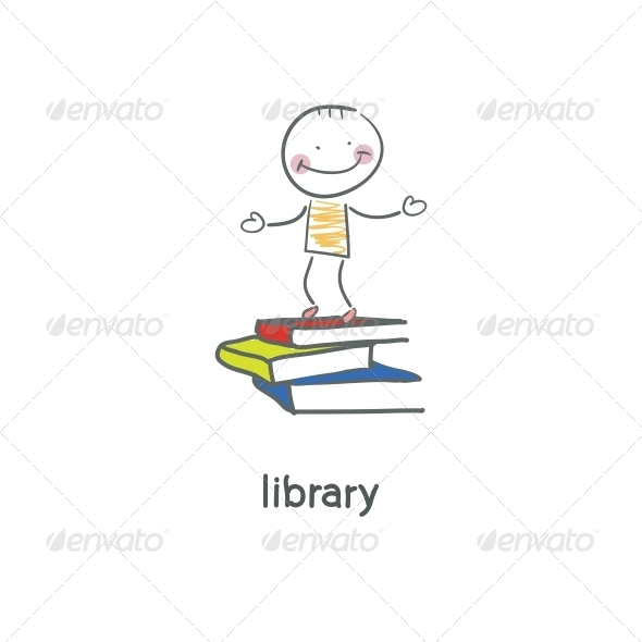 Library. Illustration. - People Characters