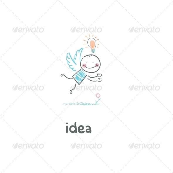Flight of Ideas. Illustration. - People Characters
