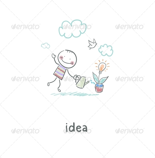 Man Grows Idea. Illustration. - People Characters