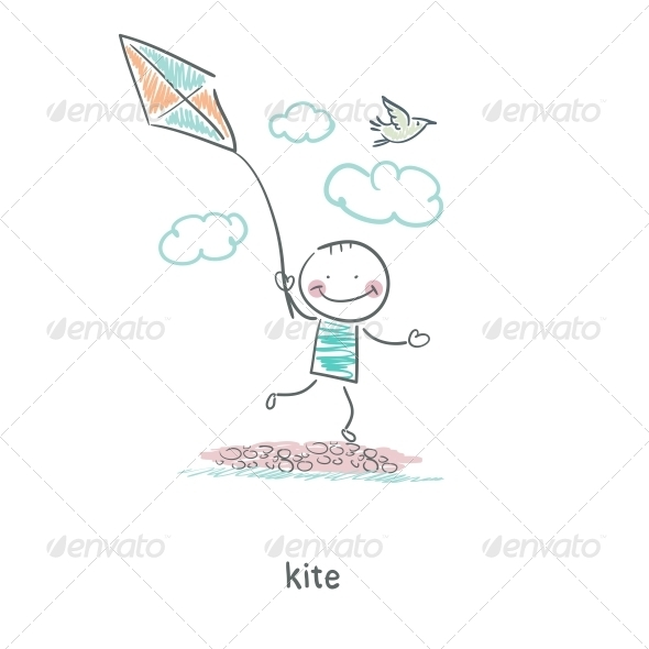 A Man with a Kite. Illustration. - People Characters