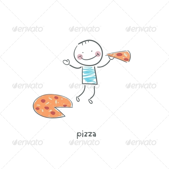 Man eats Pizza. Illustration. - People Characters