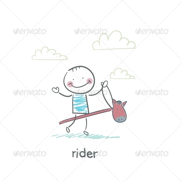 Rider on a Horse Toy. Illustration. - People Characters