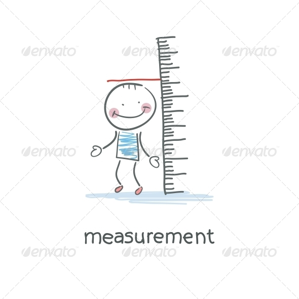 Measurement of Growth. Illustration. - People Characters