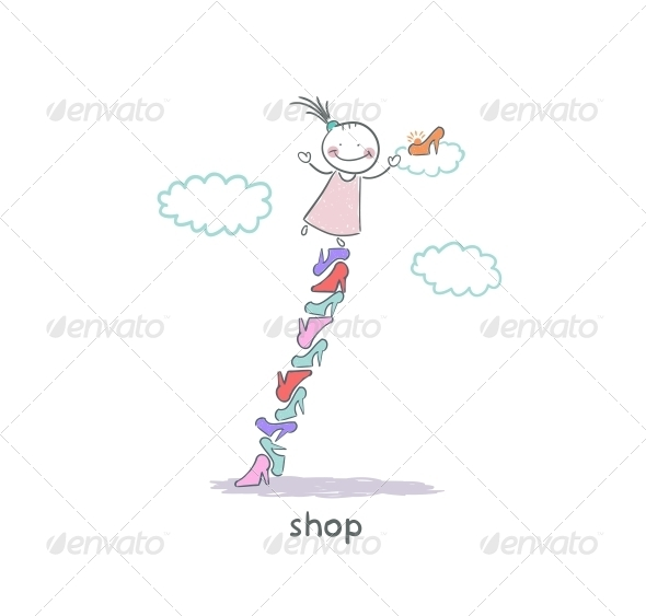 A Girl in a Shoe Shop. Illustration. - People Characters
