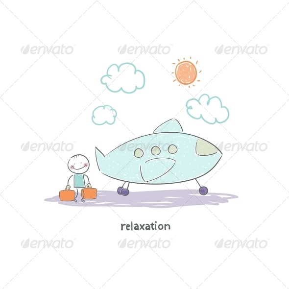 Man Flying on Holiday by Plane. Illustration. - People Characters