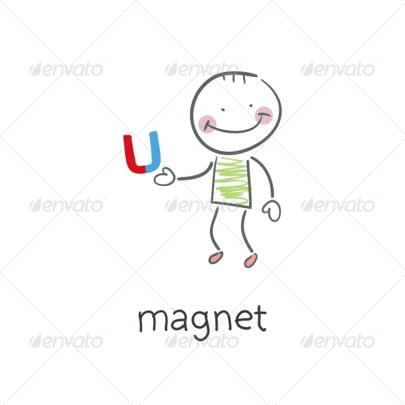 Magnet. Illustration. - People Characters