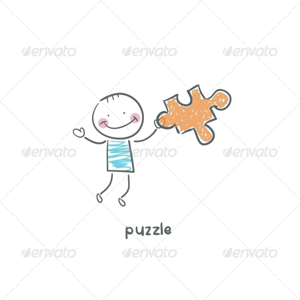 Man and  Puzzle. Illustration. - People Characters