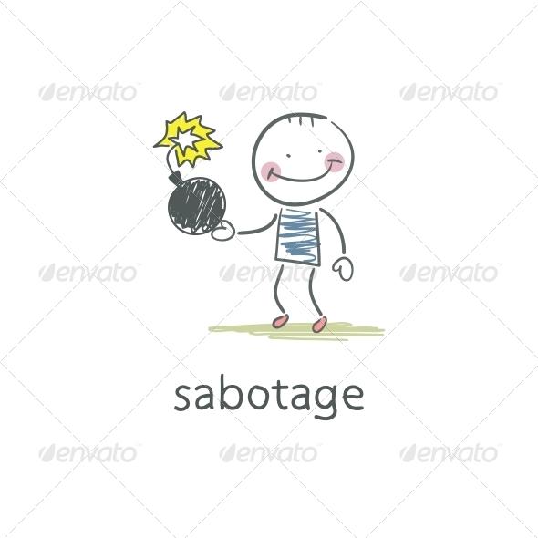 Sabotage. Illustration - People Characters