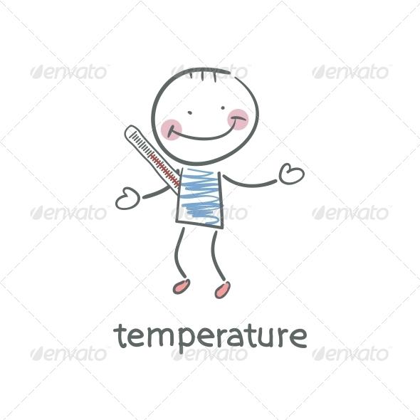 Man Measures the Body Temperature. Illustration. - People Characters