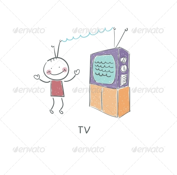 TV and Man - People Characters