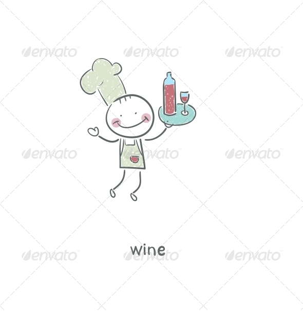 Chef and Wine. Illustration. - People Characters