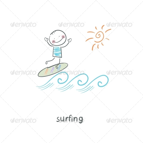 Surfer. Illustration. - People Characters