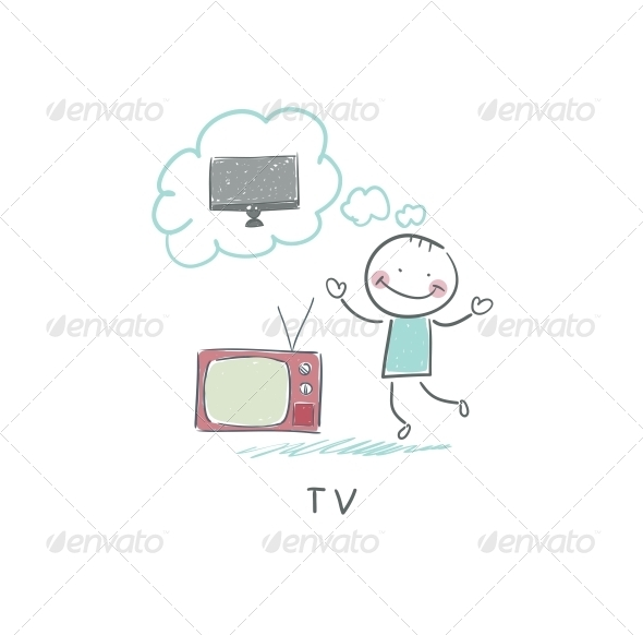 Man Dreams of a New TV - People Characters