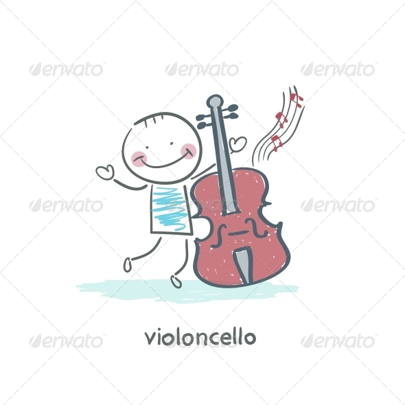 Man and Cello - People Characters