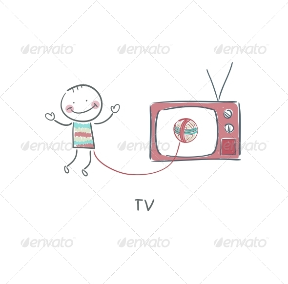 Man and TV - People Characters