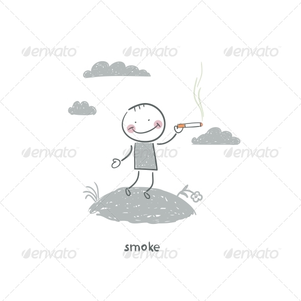 Smoker. Illustration. - People Characters