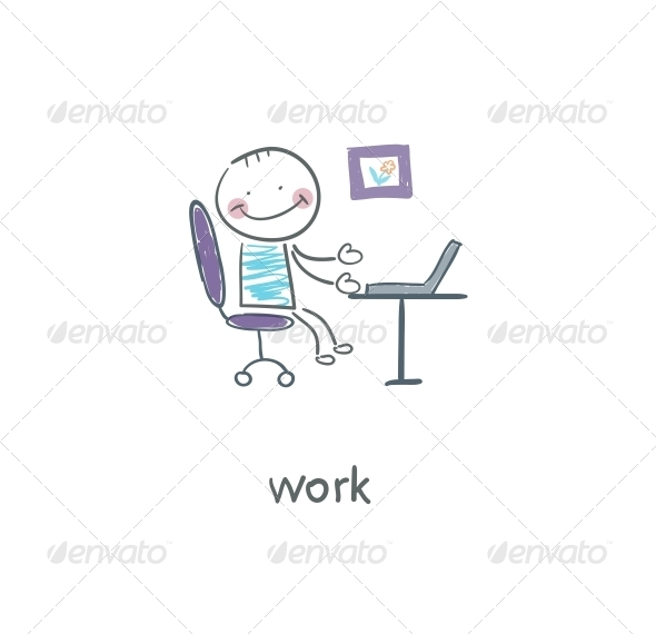 Office Worker. Illustration. - People Characters