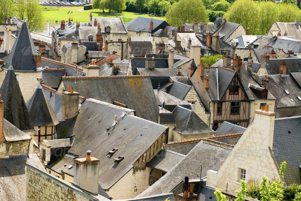Roofs of Chinon - Stock Photo - Images