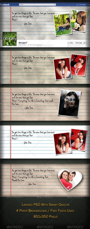 Facebook Timeline Cover Notebook Torn Paper Style - Facebook Timeline Covers Social Media