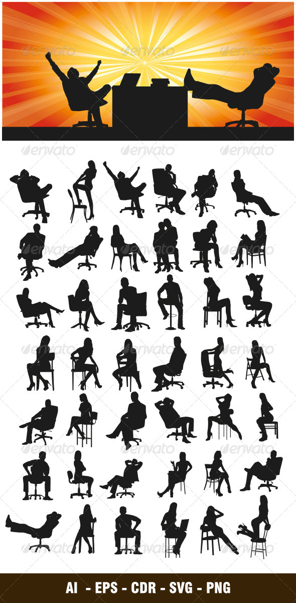 Sitting Silhouettes - People Characters