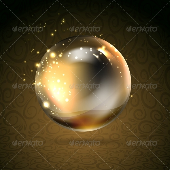 Golden Shiny Perl - Abstract Conceptual