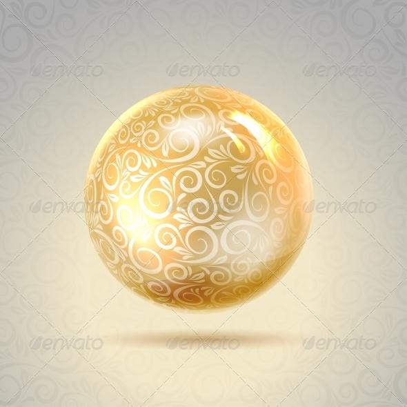 Golden Shiny Perl - Abstract Conceptual