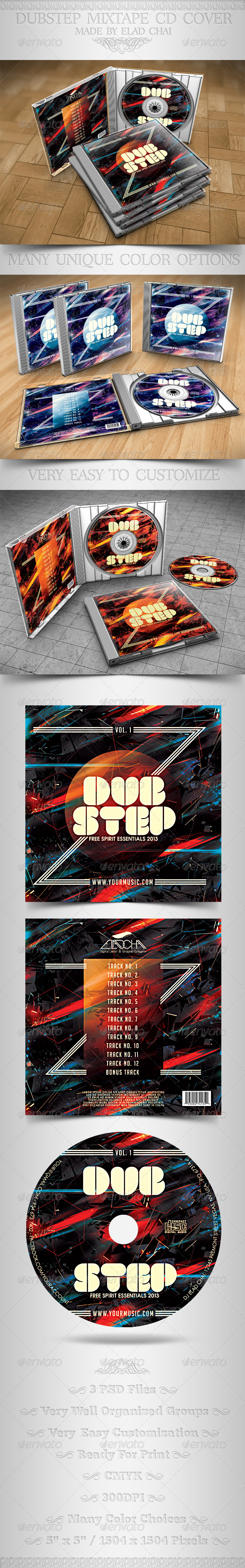 Dubstep Mixtape CD Cover Insert & Label - CD & DVD Artwork Print Templates