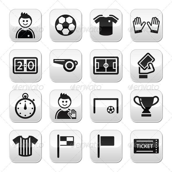 Soccer / Football Vector Buttons Set - Sports/Activity Conceptual