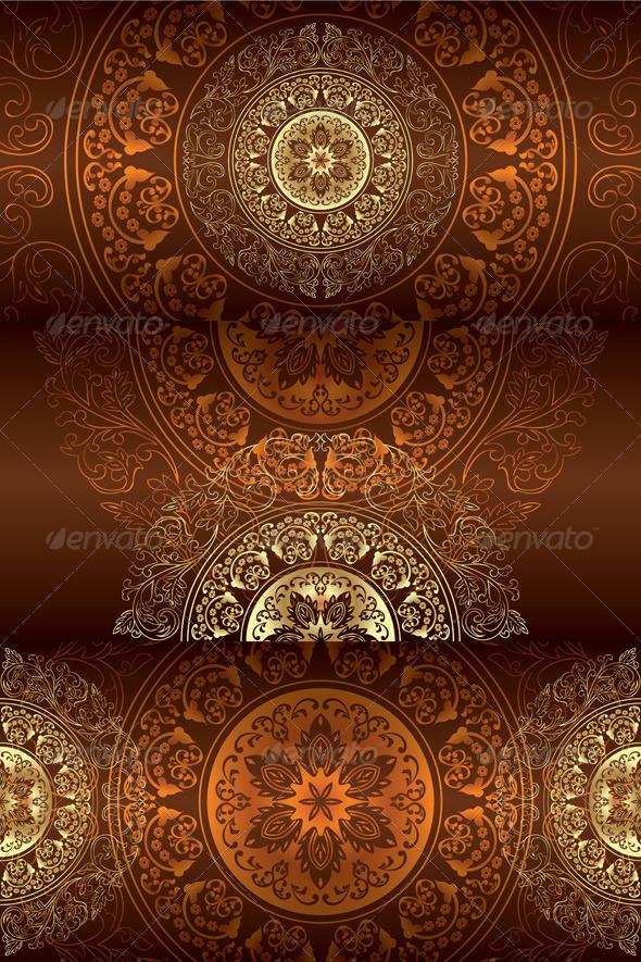 Set of Brown Vintage Floral Backgrounds - Backgrounds Decorative