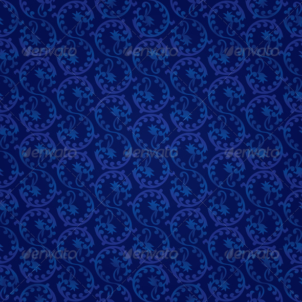 Seamless Blue Vintage Floral Pattern - Backgrounds Decorative