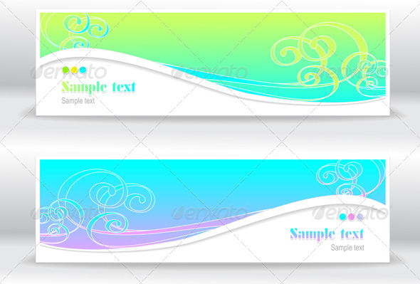 Abstract Summer Marine Banners - Backgrounds Decorative
