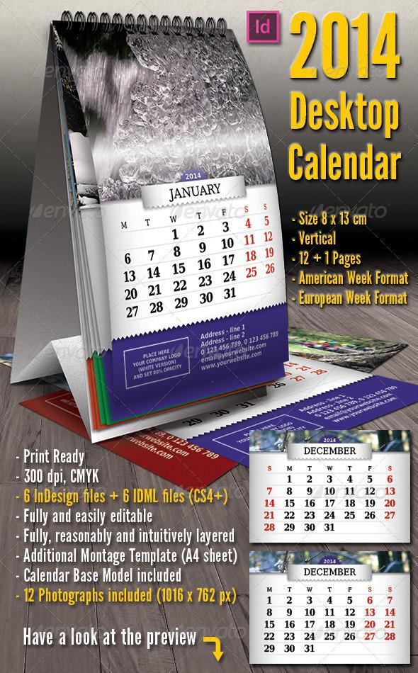 2014 - Vertical Desktop Calendar - Calendars Stationery